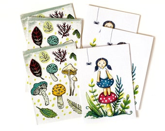 SALE - Cute Toadstools Card Pack - 6 Gift Cards
