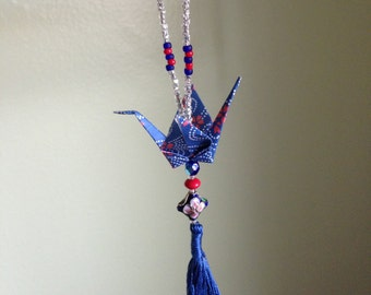1 Custom Color Origami Peace Crane Ornament w/ seed beaded loop, vintage glass beads, and tassel -- made to order CHARITY DONATION