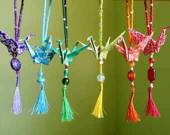12 Custom origami rainbow Peace crane ornaments -- w/ vintage glass beads and tassels - CHARITY DONATION