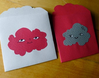 2 handdrawn art Cloud lovenotes - illustrations drawings on 100% upcycled vintage gourmet paper