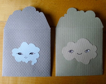 2 hand-drawn Cloud cards lovenotes - with original art, made of 100% upcycled gourmet vintage paper