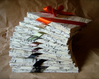 100  CD or DVD envelopes / wedding favor placecards from vintage sheet music w/ optional hand calligraphed labels