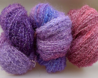 Variations On A Petunia - 3 boucle handdyed varigated wool yarn hanks - soft light airy & unique.