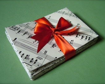 10 Custom Musiquelopes upcycled envelopes & stationery from vintage sheet music
