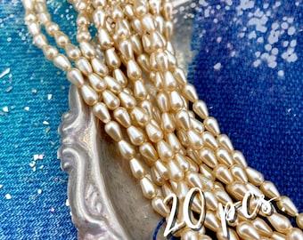 5x3mm Cream Tear Drop Glass Pearls - DIY Jewelry