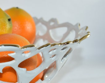 Stunning Gold Rimmed Ceramic Fruit Bowl. Cut Out Lace Bowl. Pierced Artistic Centerpiece.