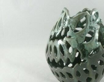 Pottery Handmade Pottery Vase Ceramic Lantern Green Vase Ceramic Art Office Decor Mother Gift Father Gift Ceramics and Pottery Anniversary