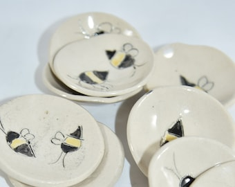 Save the Bees Trinket Dish, Sister gift, Candleholder,  Ceramics and Pottery Anniversary