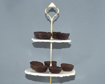 Elegant Tiered Tray Stand with Finial Top. Two and Three Tier Serving Platters. 9th Anniversary Gift