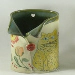 Yellow Cat Pottery Vase pencil holder, Teacher Gift Desk Organizer, Makeup Brush Holder, Toothbrush holder
