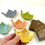 Teabag holder Set of Three, 3 Trinket Dishes, Ring Dish, tea lover gift, teapot jewelry. spoon rest