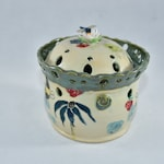 Handmade Ceramic Garlic Keeper with Dragonfly. Pottery Garlic Jars. Kitchen Canister.