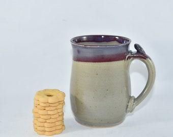 Purple and Tan Pottery Mug