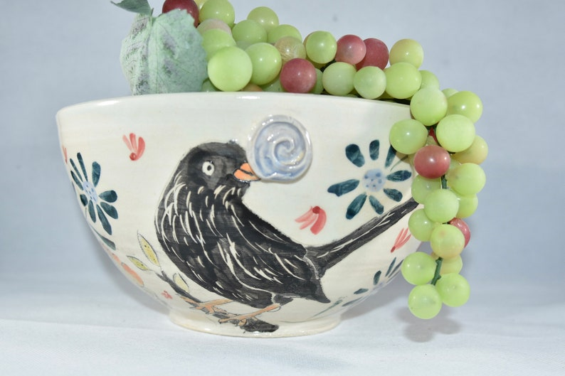 Large Pottery Bowl with Birds: Crow Meadowlark Cardinal image 0
