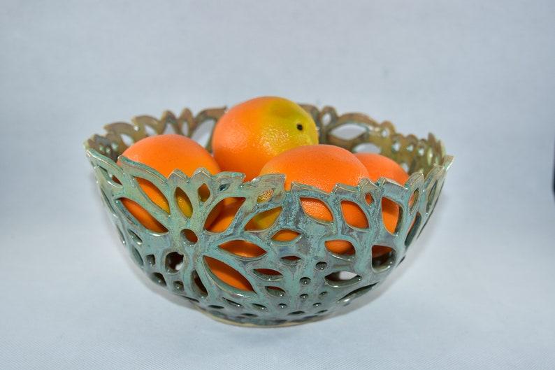 Large Ceramic Fruit Bowl in Lichen Glaze Pottery Anniversary image 0