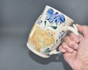 Extra Large Handmade Pottery Cup with Long Haired Ginger Cat. Holds 25 Ounces! Cat Lover Gift.