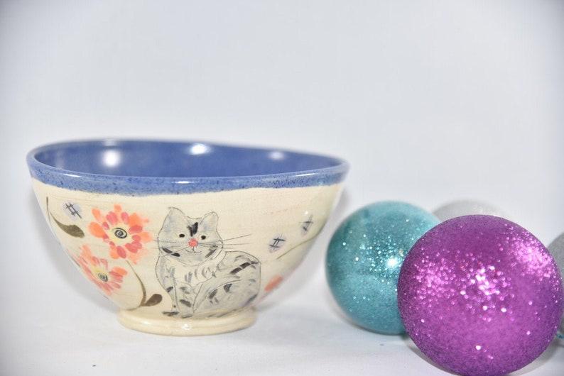 Cat Ceramic Soup Bowl Kitten Pottery Bowl Key Bowl Modern image 0