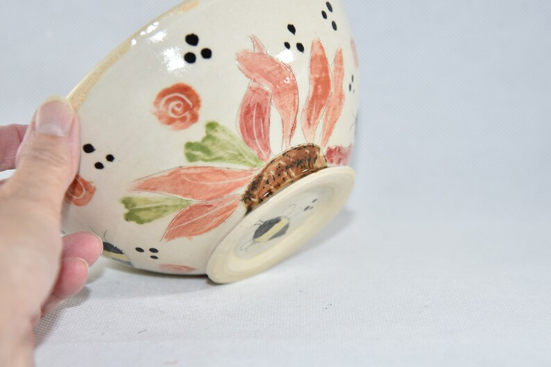 Save the Bees Handmade Pottery Bowl  Ceramic Soup Bowls image 0