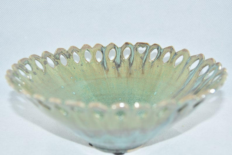 Artistic Ceramic Fruit bowl Cut Out Bowl with Incised Rim image 0
