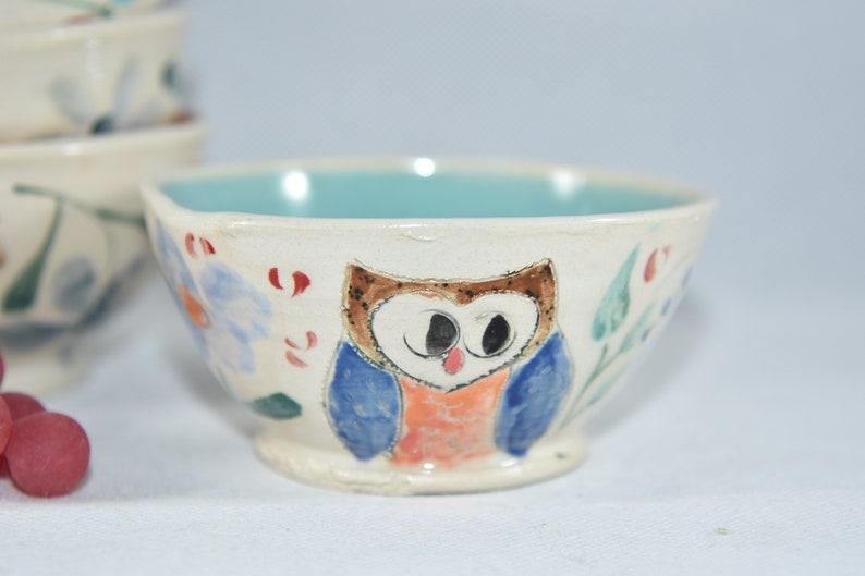 Pottery Dipping Bowls with Owl. Ceramic Ramekins. Handmade image 0