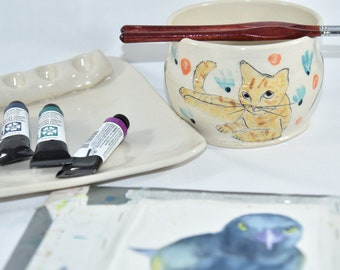 Painter's Watercolor Palette and Water Bowl. Artist Paintbrush Holder. Water Cup and Brush Rest Rinse Bowl.