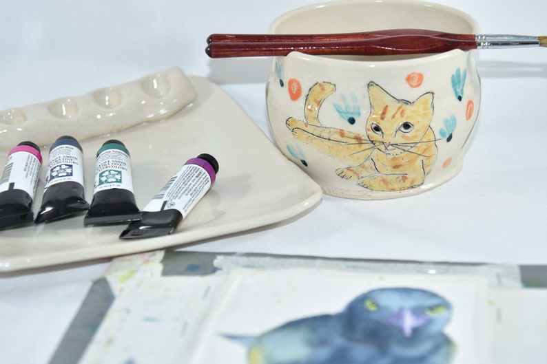 Painter's Watercolor Palette and Water Bowl. Artist image 1