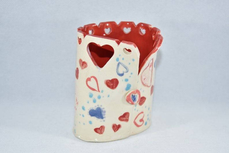 Love and Kisses Vase. Toothbrush Holder with Hearts. Handmade image 0