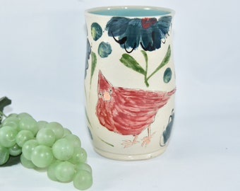 Red Cardinal Toothbrush Holder. Tumbler with  Bird on It. Pencil Holder.