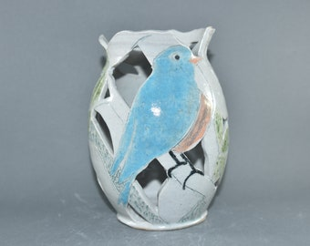 One of a Kind Ceramic Vase with Bluebird, Candleholder