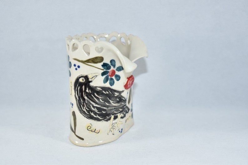 Crow Raven Ceramic vase. 9th anniversary gift. pencil holder. image 0