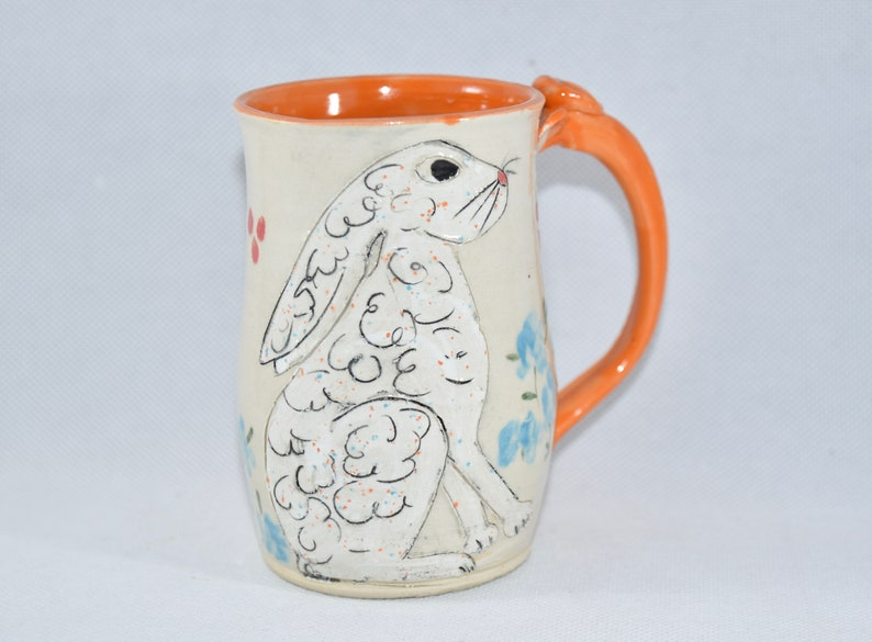 Handmade Pottery Mug with Large White Rabbit image 0