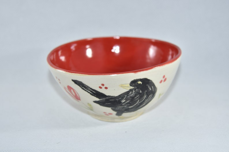Blackbird Soup Bowl  Handmade Pottery Cereal Bowl with Crow image 0
