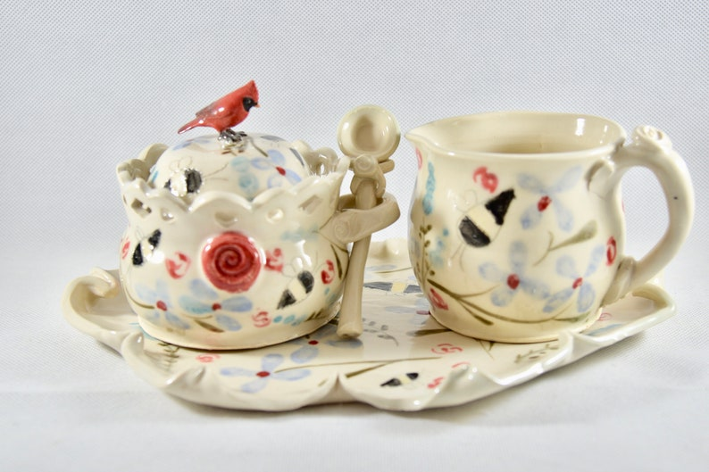 Save the Bees Sugar Bowl and Creamer Set Pottery Jar with image 0