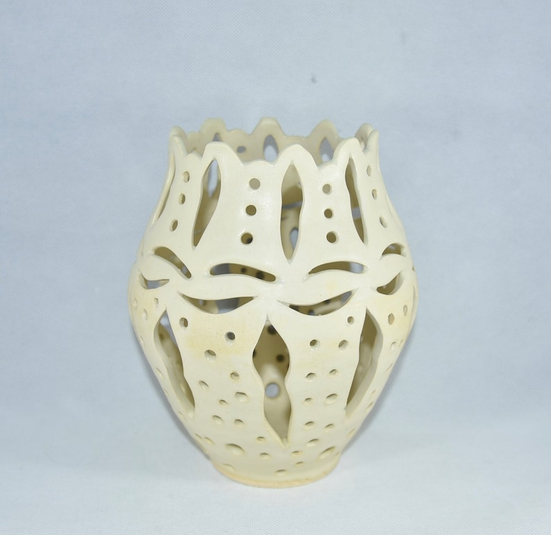 Handmade Ceramic Vase with Cut Outs. Ceramics and Pottery image 0