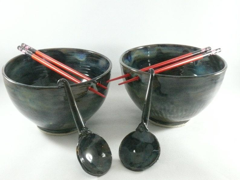 Extra Large Pho Bowl Noodle Bowl with Chopsticks Holds 42 oz image 0