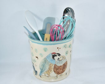Utensil Holder with Quail, Spoon Crock. Ceramic wine chiller ice bucket, Planter Vase, Pottery Anniversary Gift