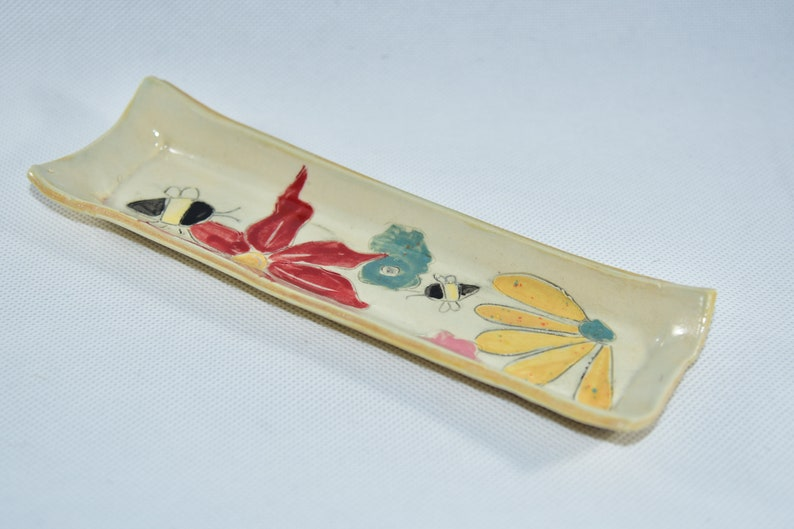 Save the Bees Ceramic Butter Dish Ceramic Spoon Rest Square image 0
