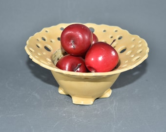 Yellow Fruit Bowl with Lacy Rim. Home Decor or Office Decor. 9th Anniversary Gift. Ceramics and Pottery Anniversary.