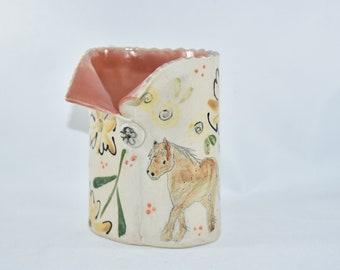 Horse Pottery Pencil Holder. teacher Gift Soap Dispenser. Toothbrush holder. Desk Accessory