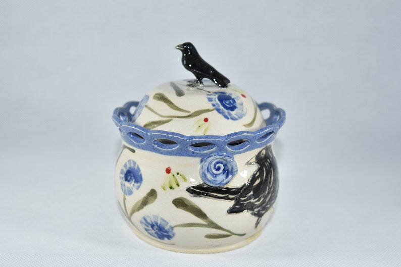 Sugar Bowl with Lid and Spoon Salt Cellar with Spoon Honey image 0