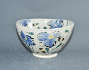 Cereal Bowl with Blue Flowers, Save the Bees Pottery Salad Bowl. Ceramics and Pottery 9th Anniversary Gift