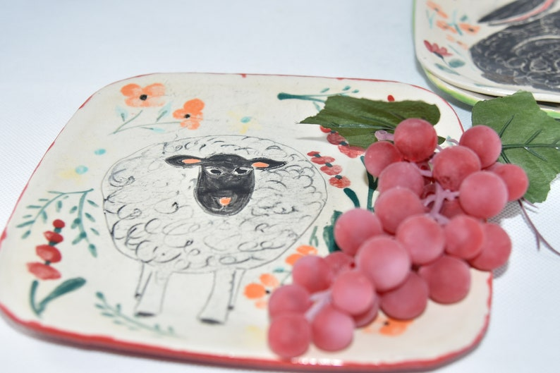 Cheese & Cracker Plate Handmade Pottery with Sheep image 0