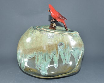 Stash Jar with Red Cardinal. Pottery Handmade Storage Jar. Ceramics and Pottery Anniversary Gift