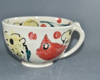 Pottery Cappuccino Cup with red cardinal, bumblebee and wildflower Design. Oversized Mug for Soup.