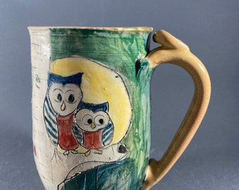 Extra Large Handmade Pottery Mug with Two Owls and Aspen Trees. Holds 20 Ounces. Made in Colorado.