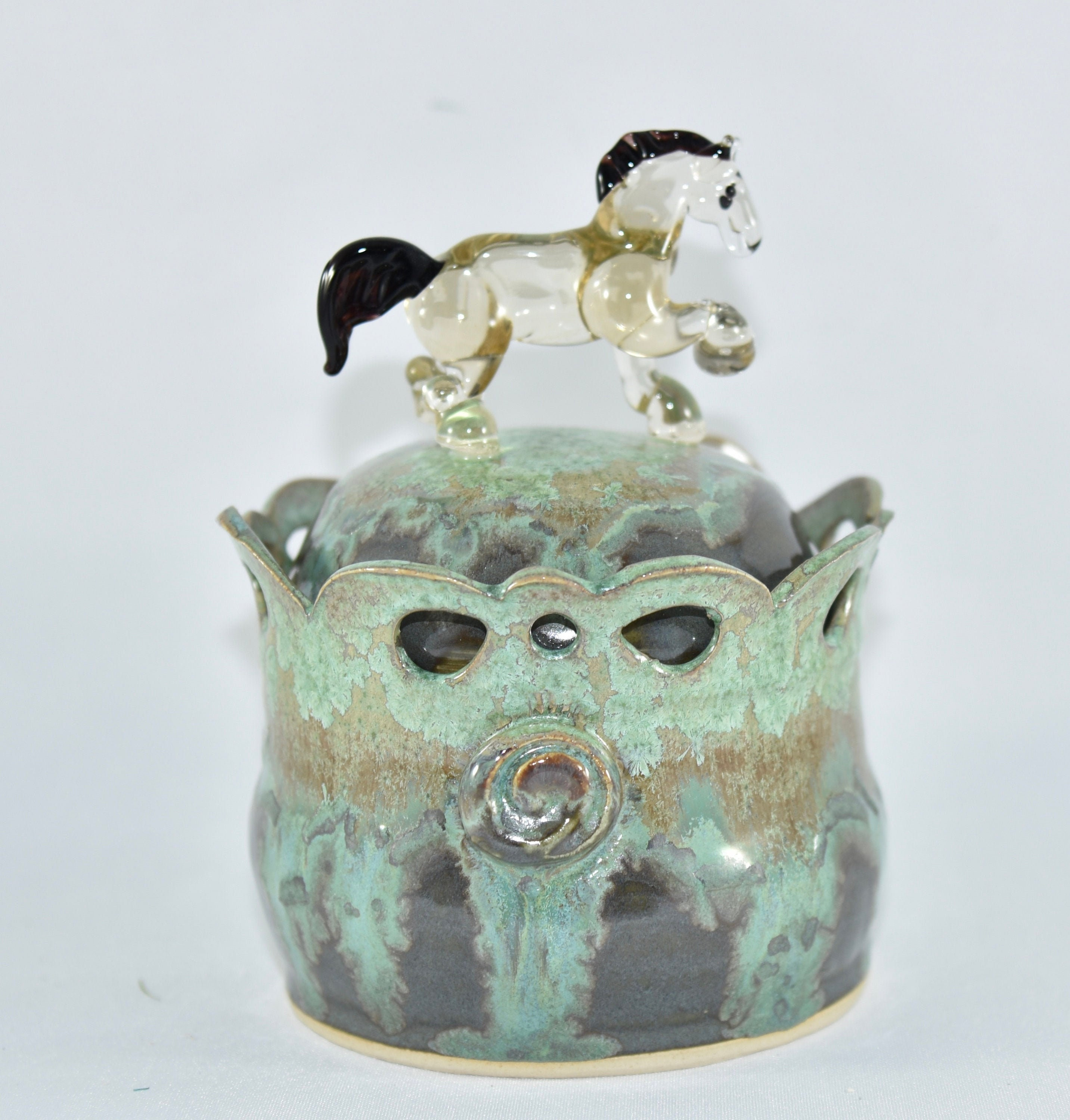 Canister In Crystal Glaze With Glass Blown Horse Pet Treat Etsy