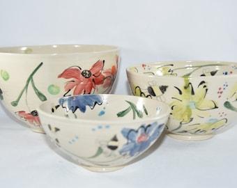Mixing Bowls Set of 3. Handmade Ceramic Nesting Bowl Set. 9th Anniversary Gift.  Ceramics and Pottery Anniversary