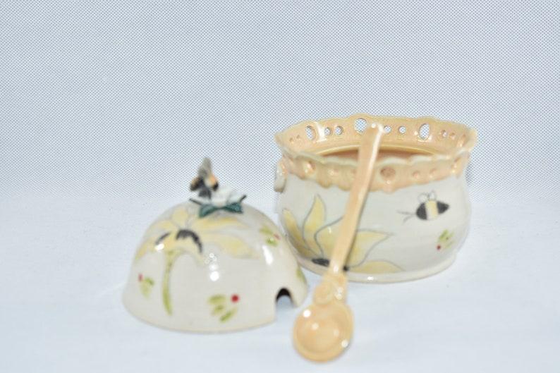 Save the Bees Ceramic Honey Pot with honey dipper Handmade image 0