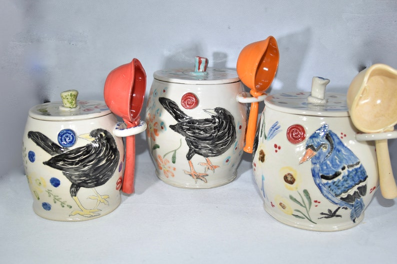 Handmade Ceramic Canister Set. Kitchen Canisters Flour Sugar All 3 canisters