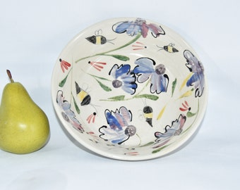 Pasta Bowl with Flowers and Bees. Soup Bowl, Salad Dish. Handmade Pottery.